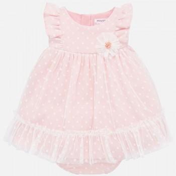 Φόρεμα Mayoral ροζ με τούλι πλουμετί