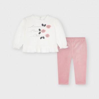 Σύνολο Mayoral λευκό-ροζ κολάν βελούδο