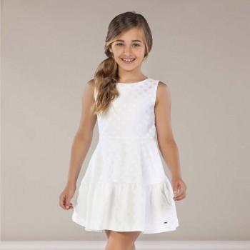 Φόρεμα Mayoral λευκό ζακάρ βούλες