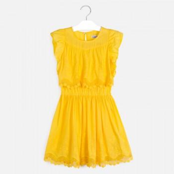Φόρεμα Mayoral κίτρινο κεντητό