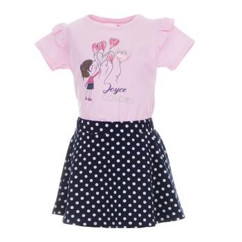 Σύνολο Joyce ροζ-μαρέν πουά φούστα