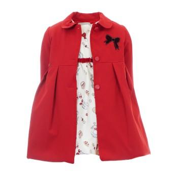 Φόρεμα Ebita με παλτό κόκκινο