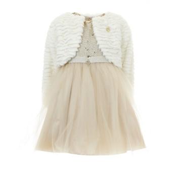 Σύνολο φόρεμα με μπολερό χρυσό-εκρού