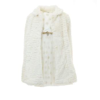 Φόρεμα Ebita εκρού με γούνα
