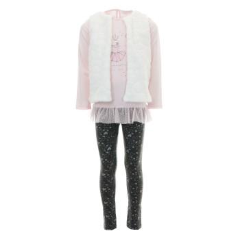 Σύνολο Ebita με γουνάκι ροζ-ανθρακί