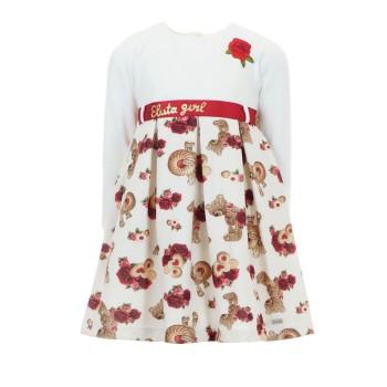 Φόρεμα Ebita εκρού κόκκινο