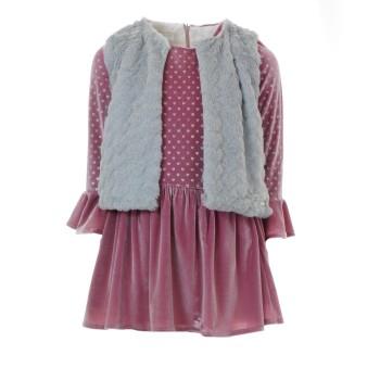 Σετ ροζ φόρεμα  με γκρι γιλέκο