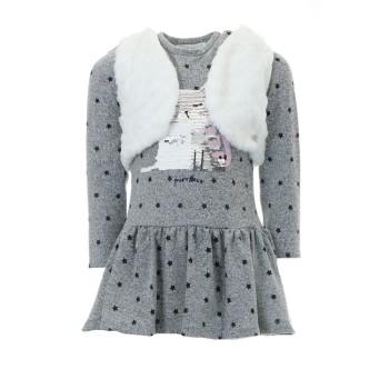 Σύνολο Ebita φόρεμα γκρι με γιλέκο
