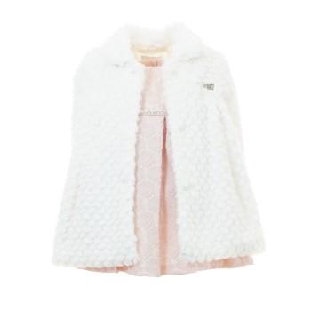 Φόρεμα Ebita με γούνα ροζ λευκό