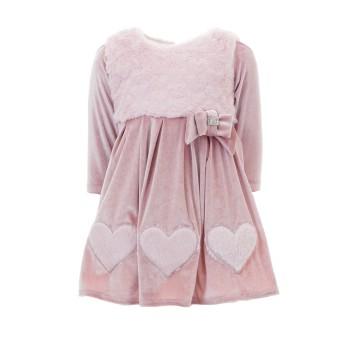 Φόρεμα Ebita ροζ βελούδο κσι γούνα