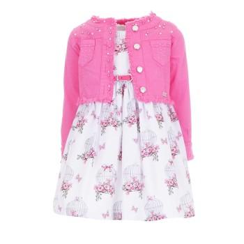 Φόρεμα Ebita 2τμχ.ροζ-λευκό