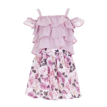 Σύνολο Ebita μωβ φλοράλ φούστα