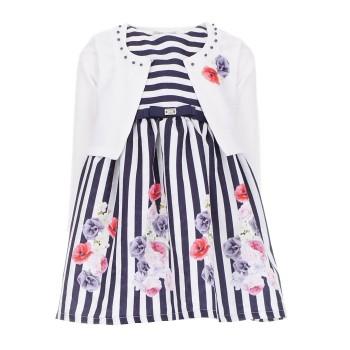 Σύνολο Ebita φόρεμα ριγε μαρέν λευκό μπολερό