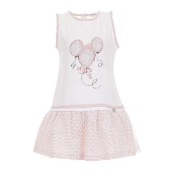 Φόρεμα Ebita λευκό-ροζ