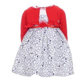 Φόρεμα Ebita με μπολερό κόκκινο-λευκό