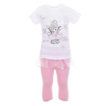 Σύνολο Ebita λευκό-ροζ κολάν