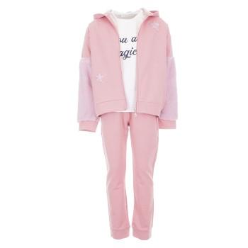 Φόρμα Ebita 3τμχ ροζ με ζακέτα