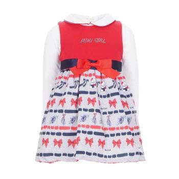 Φόρεμα Ebita 2τμχ εκρού-κόκκινο