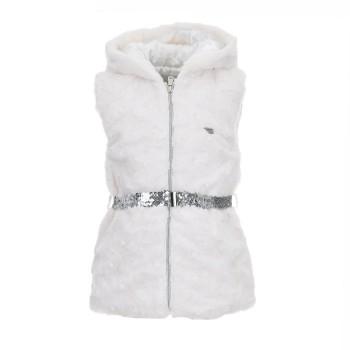 Γιλέκο Ebita λευκό αμάνικο γούνα