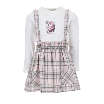 Σαλοπέτα Ebita λευκό-ροζ καρό
