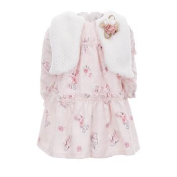 Φόρεμα Ebita ροζ-λευκό 2τμχ