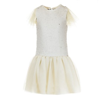 Φόρεμα M&B fashion μπεζ-χρυσό