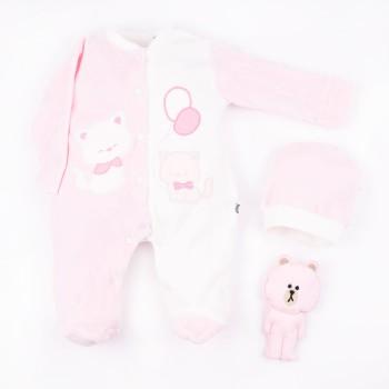 Σετ μπεμπέ Mini Zoo ροζ βελουτέ
