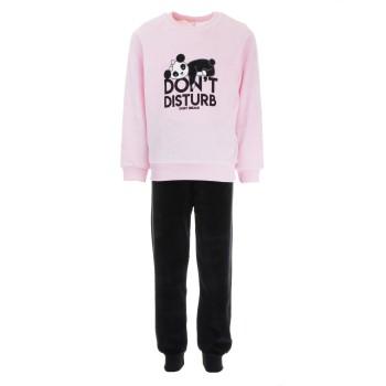 Πυζάμα Dreams ροζ-μαύρο βελουτέ