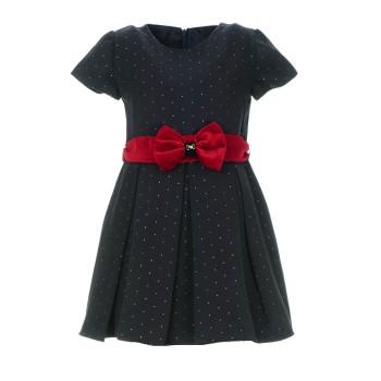 Φόρεμα Glous μαρέν με μπορντώ ζώνη