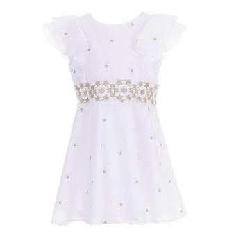 Φόρεμα λευκό-χρυσό Glous