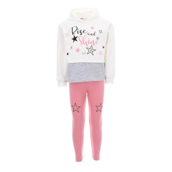 Σύνολο Nekidswear λευκό-ροζ
