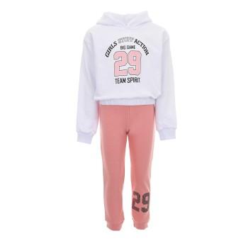Φόρμα Nekidswear λευκό-ροζ φθινοπωρινή