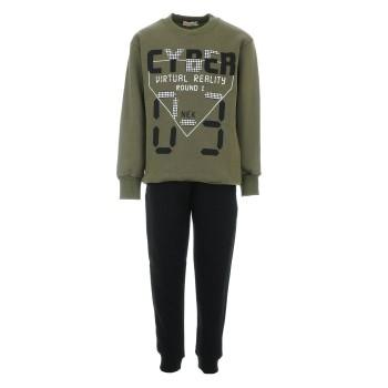 Φόρμα Nekidswear χακί-μαύρο φούτερ