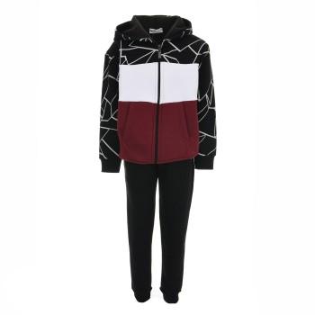 Φόρμα Nekidswear μπορντώ-μαύρο ζακέτα