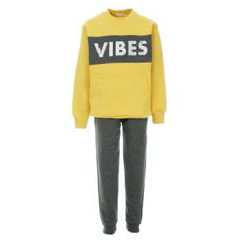 Φόρμα Nekidswear κίτρινο-ανθρακί φούτερ