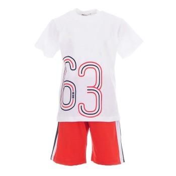 Σύνολο Nekidswear λευκό-κόκκινο