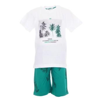 Σύνολο Nekidswear λευκό-πράσινη βερμούδα