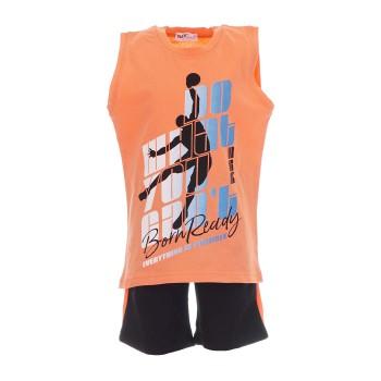 Σύνολο Nekidswear πορτοκαλί-μαύρη βερμούδα