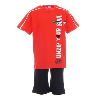 Σύνολο Nekidswear κόκκινο-μαύρη βερμούδα