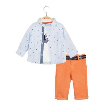 Σετ 3 τμχ, μπλούζα, πουκάμισο εμπριμέ και παντελόνι ελαστικό με ζώνη