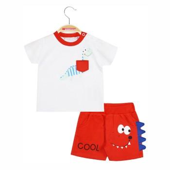 Σετ μπλούζα βαμβακερή και σορτς με λάστιχο στη μέση και διακοσμητικά τριγωνάκια στο πλάι