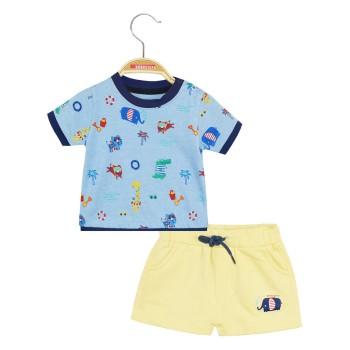 Σετ σορτς αχνούδιαστο φούτερ με λάστιχο στη μέση και μπλούζα με εμπριμέ μοτίβο