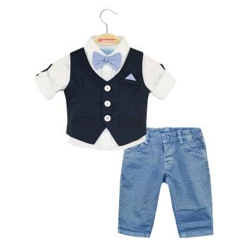 Σετ 4 τμχ, γιλέκο, πουκάμισο βαμβακερό με δυνατότητα γύρισμα στο μανίκι, σταθερό παντελόνι με ρυθμιζ