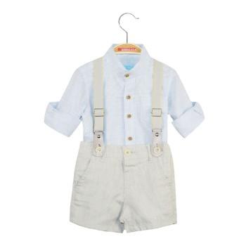 Σετ σορτς με ρυθμιζόμενο λάστιχο μέσης & τιράντες και πουκάμισο με γιακά μάο