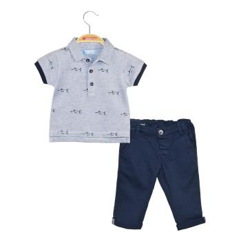 Σετ μπλούζα πόλο πικέ και παντελόνι σταθερό ύφασμα με tape εσωτερικά στο γύρισμα στο μπατζάκι