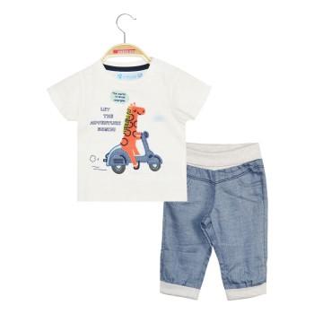 Σετ παντελόνι με λάστιχο που γυρίζει στη μέση και μπλούζα κέντημα καμηλοπάρδαλη