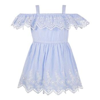 Φόρεμα ριγέ με κέντημα