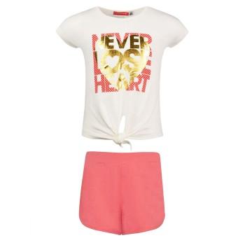 Σετ Energiers  σορτς και μπλούζα με τύπωμα κοραλί