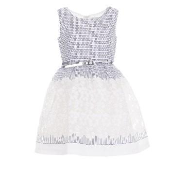 Φόρεμα ύφασμα ζακάρ και τούλι με ζώνη