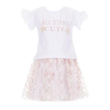 Σύνολο All stars λευκό-σομόν φούστα